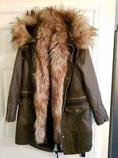 River Island khaki fur trim long line parka coat, 6, Brand new