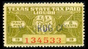TEXAS # TX L17 Revenue 6c Olive DISTILLED SPIRITS SERIES 1937 SEE PHOTOS G-588