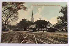 CT Postcard South Manchester Conn. Vintage Trolley Terminal trolleys street