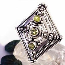 Ring PERIDOT ECHT 925 Silber Silver PLATED Gothic green