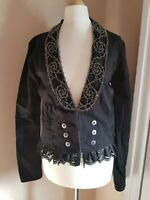 Oasis Women's Jacket Beaded Victorian Goth Style Blazer Coat Black Size Small