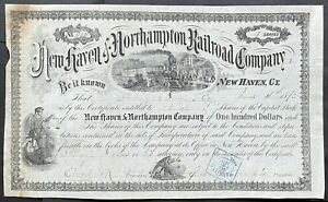NEW HAVEN & NORTHAMPTON RAILROAD CO. Stock 1873. CT - MA. Farmington Canal Route