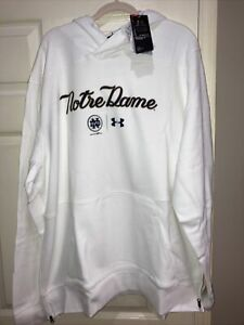 NWT Under Armour Notre Dame Baseball White Pullover Hooded Sweatshirt 3XL