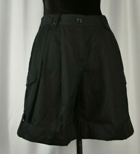 Dolce Gabbana Size 38 Black Shorts Logo Buttons Pleated Short Pants Cotton Italy