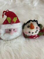 Primitive Santa Snowman Felt Christmas ornament Lot Country Rustic Christmas Vtg