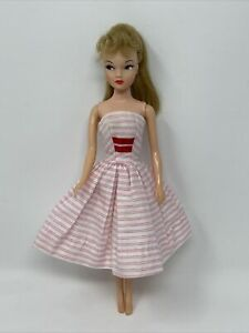 Vintage Barbie Miss Suzette Clothes Doll Outfit PINK White STRIPED DRESS