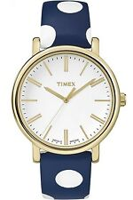 Timex TW2P63500 Women's Gold Tone Originals Blue Polka Dot Leather Band Watch