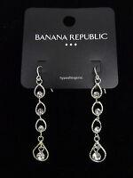 New Silver Tone Rhinestone Dangle Earrings by Banana Republic NWT #BRE40