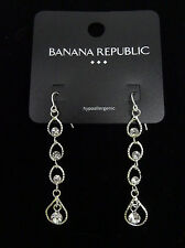 Silver Tone Rhinestone Dangle Earrings by Banana Republic #bre40