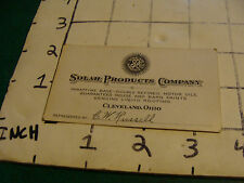 Vintage Business Card SOLAR PRODUCTS COMPANY Cleveland Ohio