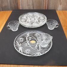 Anchor Hocking Early American Prescut Snack Set 4 Plates & 3 Cups