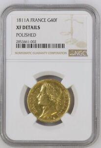 1811A FRANCE Rare Gold 40 Francs Napoleon I NGC XF
