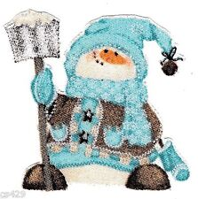 """2.5"""" WHIMSICAL BLUE SNOWMAN CHRISTMAS  HOLIDAY FABRIC APPLIQUE IRON ON CHARACTER"""
