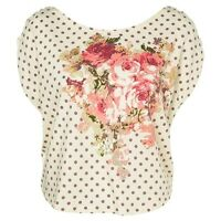 VIVI Rose Print Crop Polka Dot SPOT Floral MOTIF Casual Cute Tee T Shirt Top 6-8