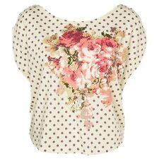 VIVI Floral Rose Print Cropped Polka Dots Ecru Floral Casual Cute Tee M