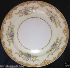 "JAPAN CHINA G.H.B. & S. JUDITH DINNER PLATE 9 3/4"" FLOWERS & TAN SCROLLS"