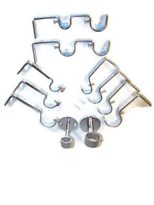 Polished Chrome Curtain Pole Brackets Double 19mm 25mm 28mm 35mm Ceiling Adjust