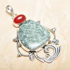 "Handmade Russian Seraphinite Gemstone 925 Sterling Silver Pendant 3.5"" #P15447"