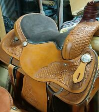 Ran Tan 15 inch Steele Equi-Fit Leather Roping/ Western Saddle New