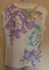 Jane Norman UK12 EU40 US8 cream floral sleeveless glittery jumper