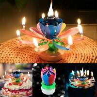 Magic ROTATING Lotus Candle Birthday Flower Musical Floral Cake Candles & Music