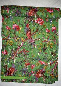 Indian Cotton Twin Kantha Quilt Hippie Boho Bohemian Handmade Bedding Bedspread