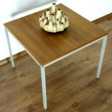 60er JAHRE VINTAGE TEAK TISCH VIERKANT STAHLROHR COFFEE TABLE COUCH LOFT (7454)