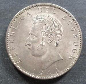 Ecuador, Silver 2 Sucre, 1944Mo, toned