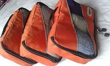 3 Pcs Large Orange Lightweight Packing Organizers Cubes for Suitcases and Bags