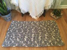Handmade Soft Chunky Crochet Rug Spa Bath Mat Reversible Gray