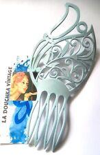 Victorian Design Women Large Hair Comb~ Pastel Light Blue ~Vintage New/Old Stock