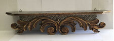 """Wall shelf hand carved wood painted antique gold flowers leaves baroque 25"""" wide"""