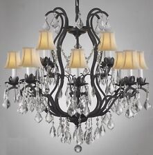 WROUGHT IRON CRYSTAL CHANDELIER LIGHTING WITH SHADES