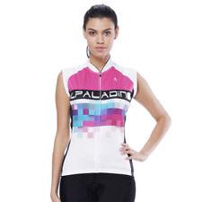 Women Ladies Cycling Jerseys Sleeveless Shirts Colored plaid Full-Zip Clothing