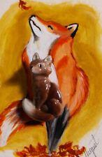 Hagen Renaker Brazel Beachstone Fox Animal Brooch Pin California Pottery Rare