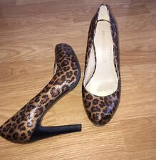 FRANCO SARTO 6.5 M Brown Patent Leopard Modern Pumps High Heels EUC