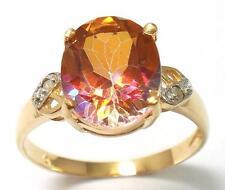 GORGEOUS 10KT YELLOW GOLD YELLOW MYSTIC TOPAZ & DIAMOND RING  SIZE 7   R707