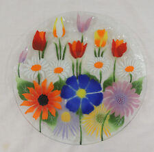 "Floral Fusion Art Glass Platter by William McGrath 14"" Orange Red Tulips White D"