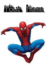 Spiderman Custom Name - White Nylon Drawstring Rucksack.Bag School Swim Gym PE