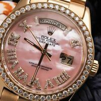 Rolex 36mm Day-Date Diamond Watch 18kt Yellow Gold Pink MOP Roman Numeral Dial