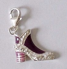 925 STERLING SILVER PURPLE MOTHER OF PEARL SHOE CHARM