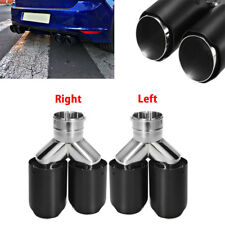 62mm Universal Dual-Outlet Exhaust Trim Muffler Tail Pipe Tip Black Carbon Fiber