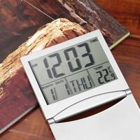 Home Digital LCD Sn Travel Alarm Clocks Desk Thermometer Timer Calendar JS
