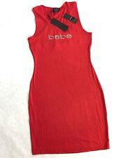 NWT Bebe Logo Dress Orange Coral Tank Rhinestone Crossback Crystal  M L XL
