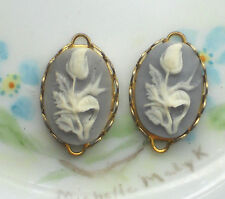 Vintage Tulip Charms Connectors Blue Glass Oval Cameo Flower Gold Tone #649N
