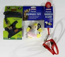 Lot of 3, 2 Ferret Harness & Leash & Ferret Bungee Toy, Critter Jeans & Marshall