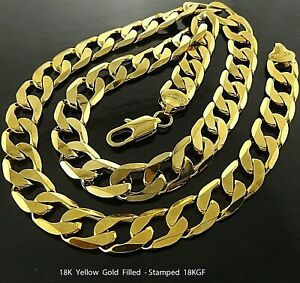 Necklace Real 18k Yellow Gold Filled Men's Solid Statement Curb Cuban Chain 60cm