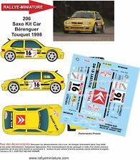 DECALS 1/24 REF 206 CITROEN SAXO KIT CAR BERENGUER RALLYE DU TOUQUET 1998 RALLY