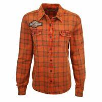 Harley-Davidson Women's Top 1903 Patch Orange Plaid L/S Woven Shirt (S13)