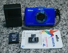 Nikon Coolpix S31 10.1MP HD 720p Waterproof Camera 3x Blue W/ Extras Tested F/S